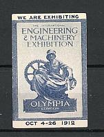 Reklamemarke London, the Intern. Engineering & Machinery Exhibition 1912, Göttin Olympia