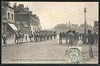 old postcard: AK Denain, Les Grèves du Nord, Une patrouille du Cuirassiers, Streik