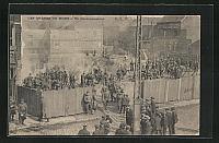 old postcard: AK Denain, Les Grèves du Nord, Un Cantonnement, Streik