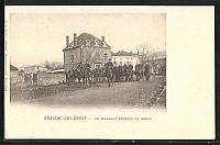 old postcard: AK Brassac-les-Mines, Les Dragons pendant la Grève, Streik