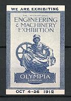 Reklamemarke London, Engineering & Machinery Exhibition 1912, Olympia
