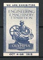 Reklamemarke London, Engeneering & Machinery Exhibition 1912, Statue Olympia