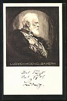 old postcard: AK König Ludwig III. im Profil, Ganzsache