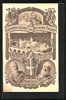 old postcard: AK München, Grundsteinlegung des Deutschen Museums, Portrait König Ludwig III.